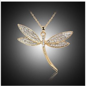 Gold and Crystal Dragonfly Necklace